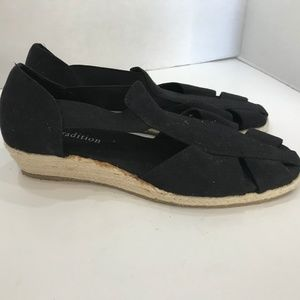 Espadrille Black Low Wedge Sandals